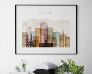 Denver wall art skyline watercolor 1 landscape second