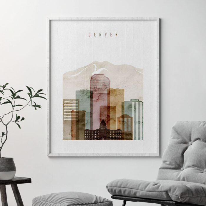 Denver skyline art watercolor 1 second