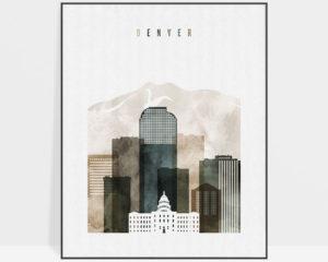 Denver skyline print watercolor 2