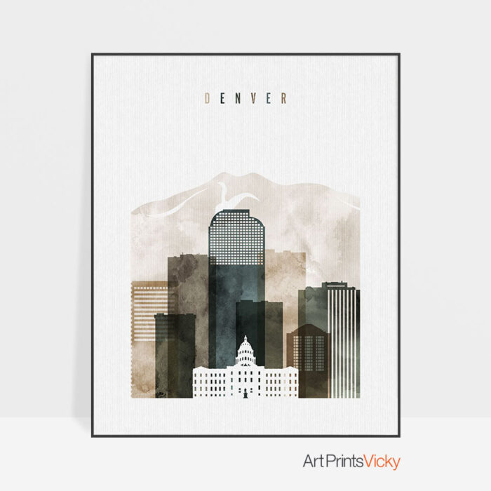 Denver skyline print watercolor 2