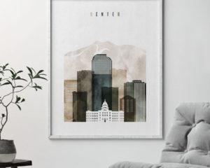 Denver skyline print watercolor 2 second