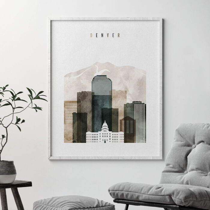 Denver skyline print watercolor 2 second