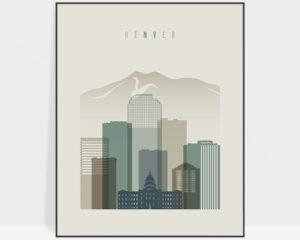 Denver print skyline earth tones 1