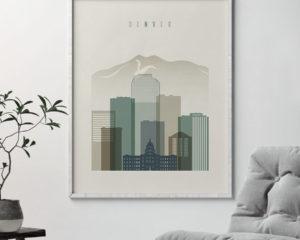 Denver print skyline earth tones 1 second