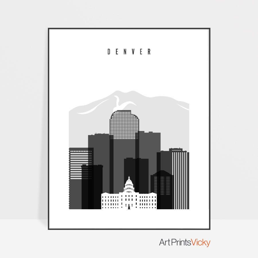 Denver skyline black and white art