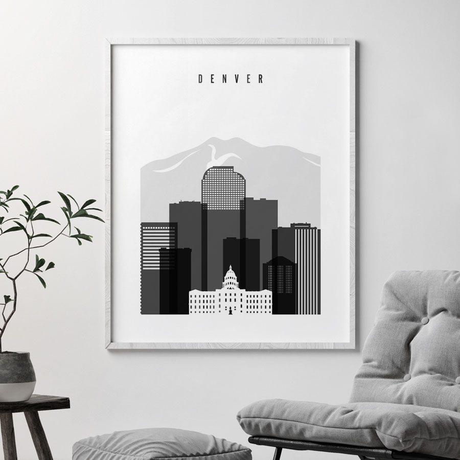 Denver skyline black and white art second
