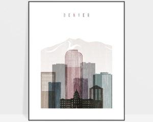 Denver skyline poster distressed 1