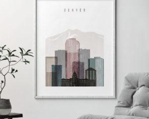 Denver skyline poster distressed 1 second