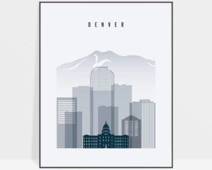 Denver skyline poster grey blue
