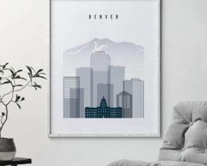 Denver skyline poster grey blue second