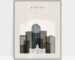 Denver skyline print distressed 2
