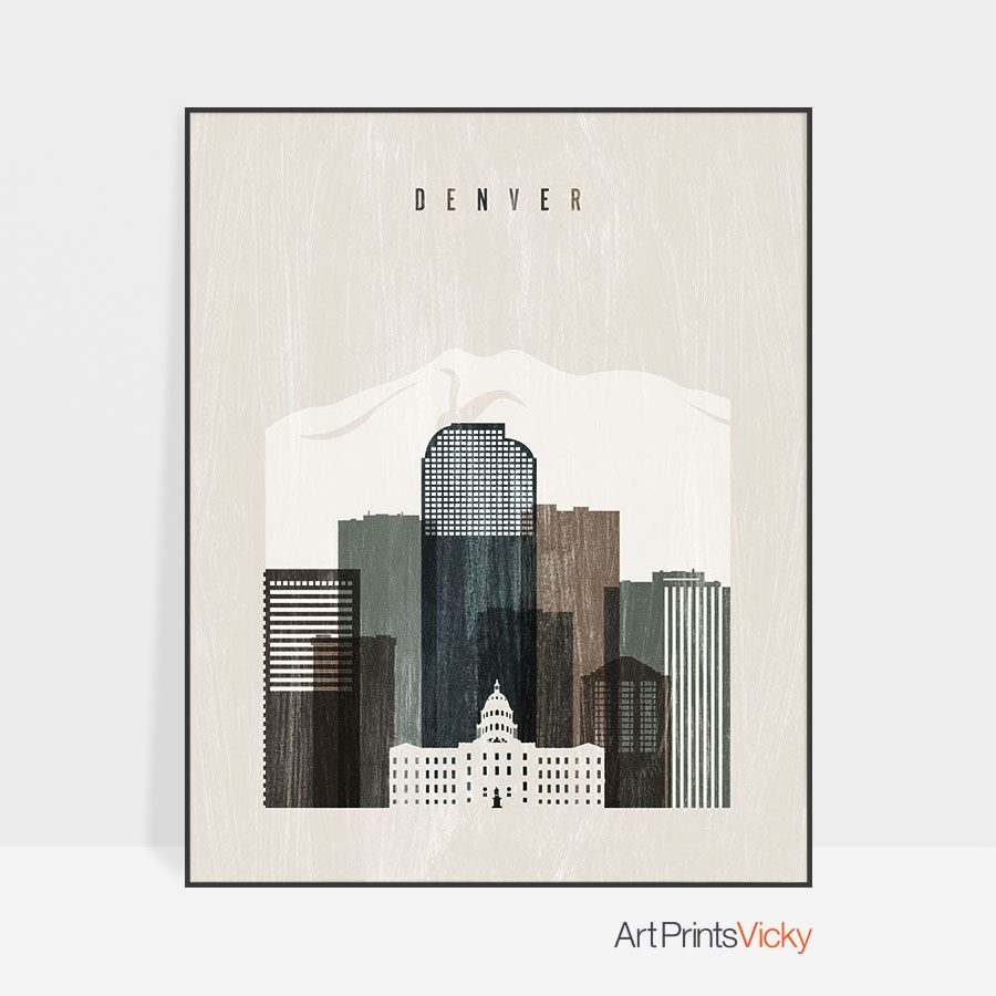 Denver skyline print distressed 2
