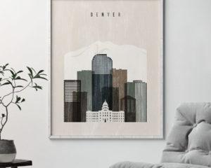 Denver skyline print distressed 2 second
