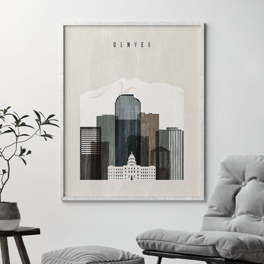 Denver skyline print distressed 2 second