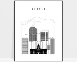 Denver black and white skyline poster