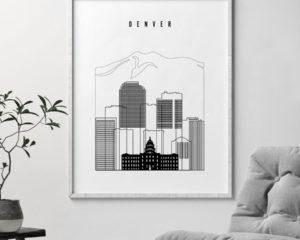 Denver black and white skyline poster second