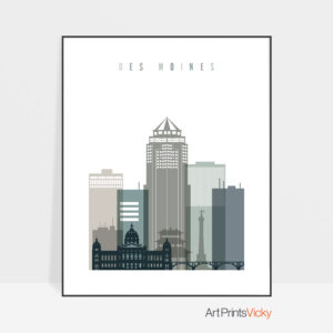 Des Moines art print skyline earth tones 4
