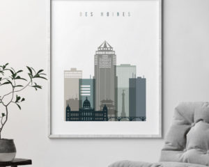 Des Moines art print skyline earth tones 4 second