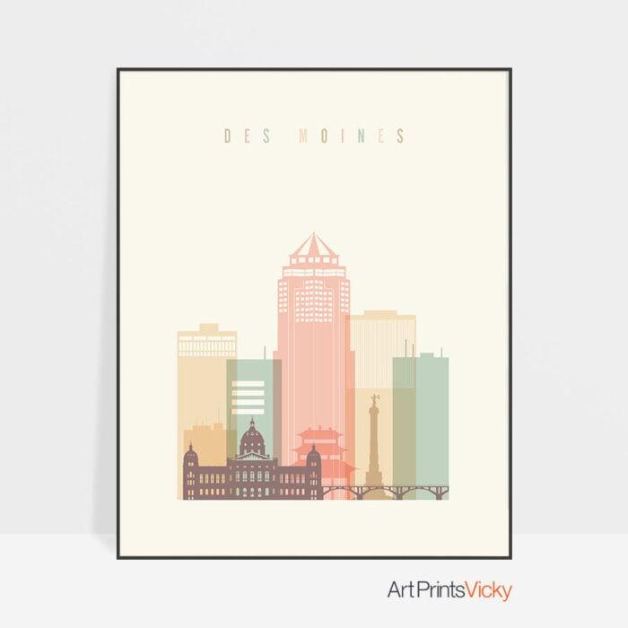 Des Moines skyline art print pastel cream