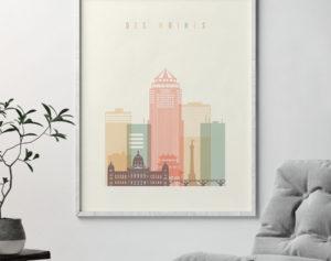 Des Moines skyline art print pastel cream second