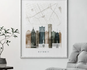 Detroit map print skyline poster watercolor 2 second