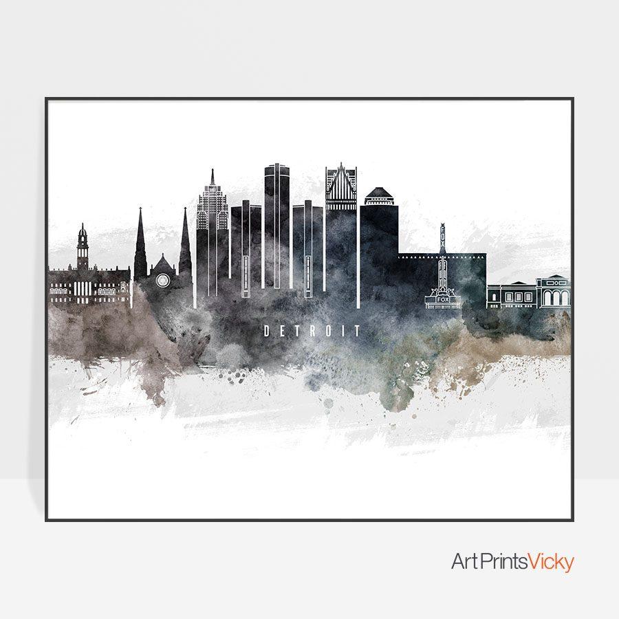 Detroit art poster watercolor