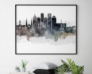 Detroit art poster watercolor second