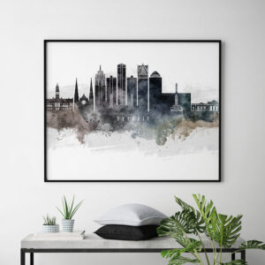 Detroit art poster watercolor second