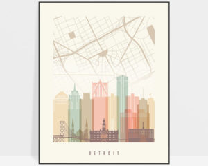Detroit map print poster pastel cream