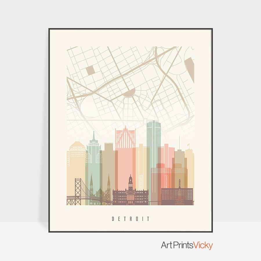 Detroit map print poster pastel cream