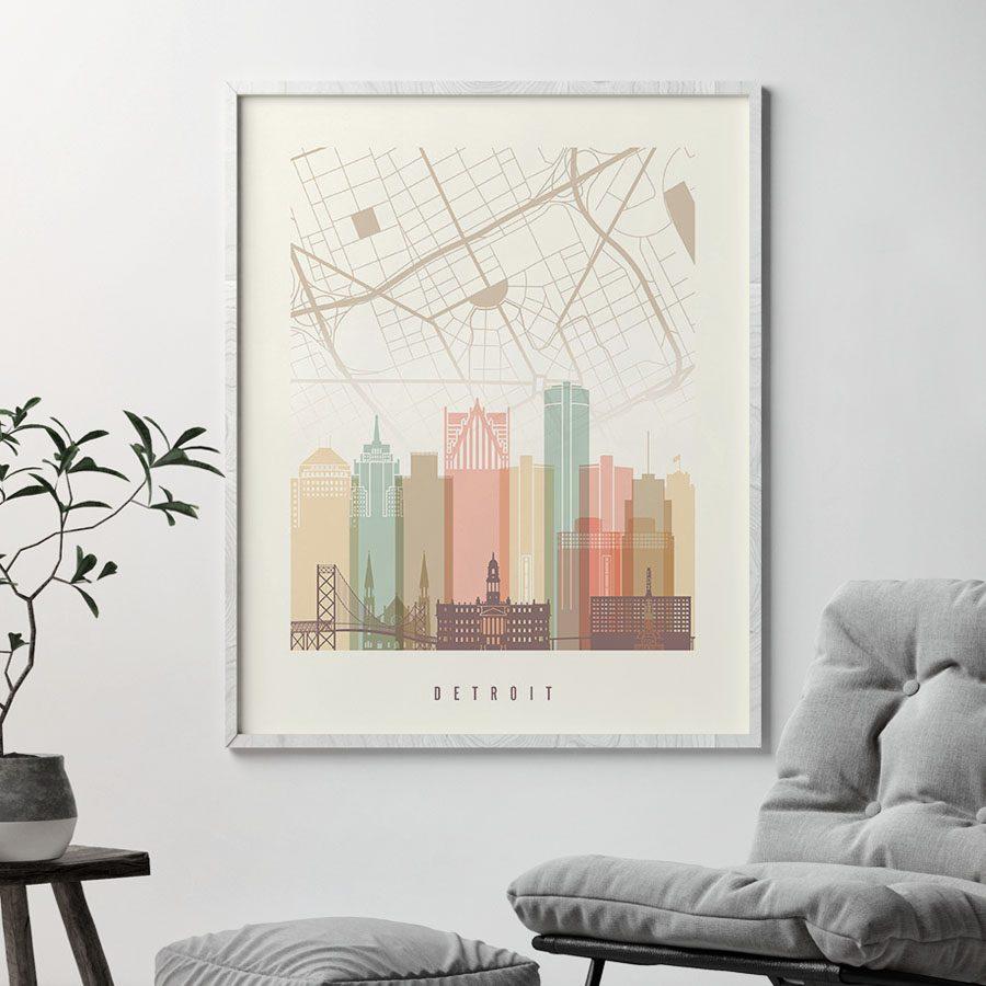 Detroit map print poster pastel cream second
