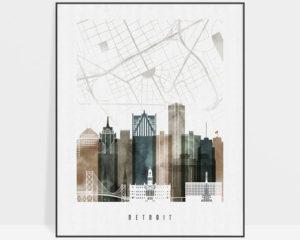 Detroit map print skyline poster watercolor 2