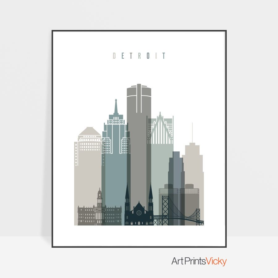 Detroit art print skyline earth tones 4