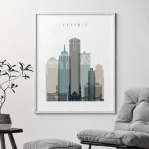 Detroit art print skyline earth tones 4 second
