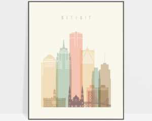 Detroit art print pastel cream