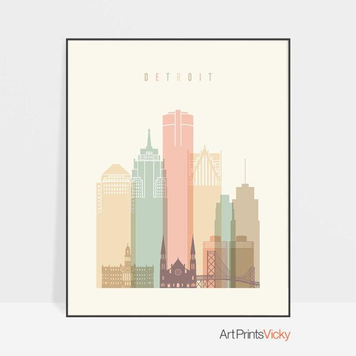 Detroit art print pastel cream