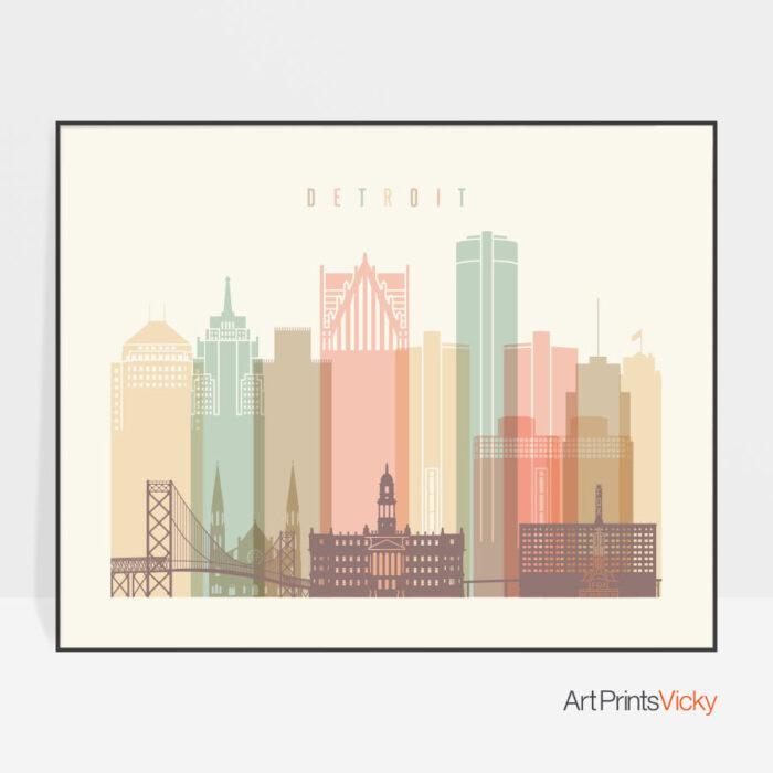 Detroit city skyline pastel cream landscape