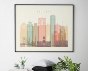 Detroit city skyline pastel cream landscape second