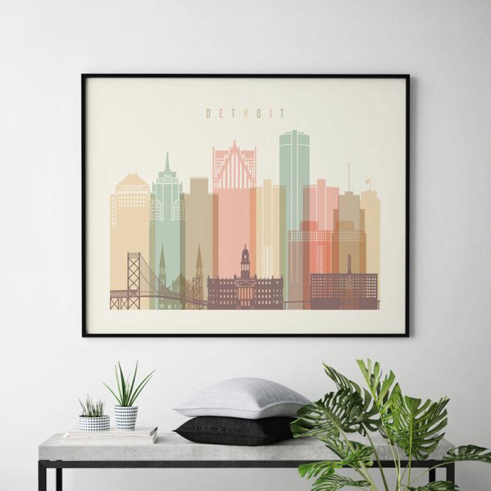 Detroit city skyline pastel cream landscape second