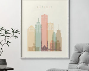 Detroit art print pastel cream second