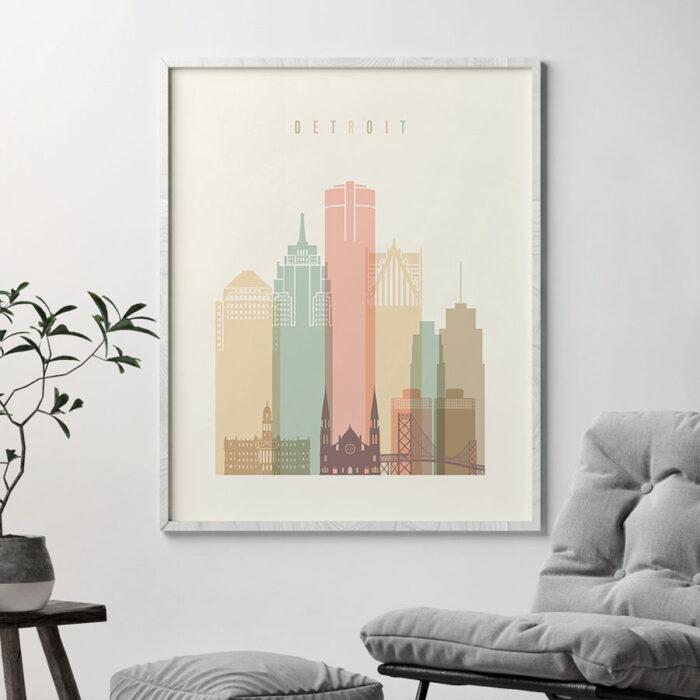 Detroit art print pastel cream second