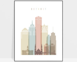 Detroit wall art pastel white