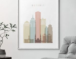Detroit wall art pastel white second