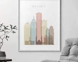 Detroit wall art pastel white second