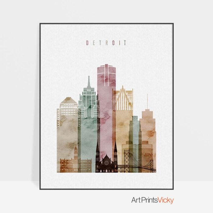 Detroit skyline print watercolor 1