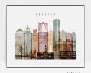 Detroit skyline poster watercolor 1 landscape