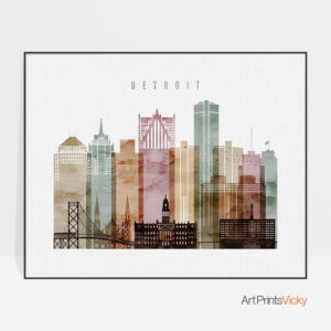 Detroit skyline poster watercolor 1 landscape