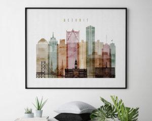 Detroit skyline poster watercolor 1 landscape second
