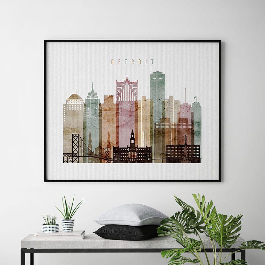 Detroit skyline poster watercolor 1 landscape second