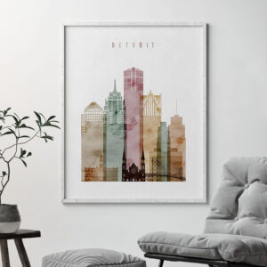 Detroit skyline print watercolor 1 second